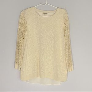 NWT lucky brand lace sleeve knit bone Crewneck top